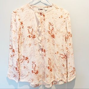 Hinge Floral Open Back Blouse Size